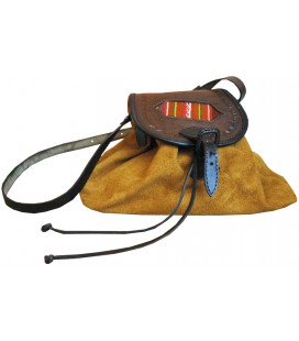 Chamois leather purse - Genuine leather and aguayo