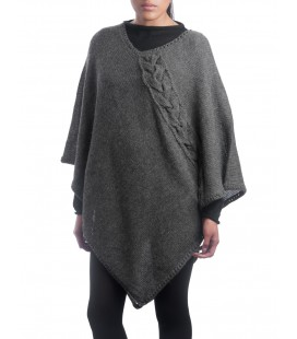 Poncho with braid - 100% alpaca wool