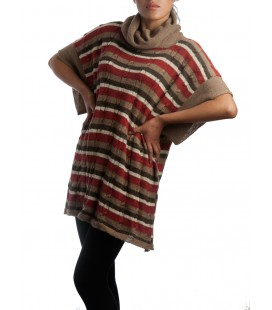 Poncho with stripes - 100% alpaca wool