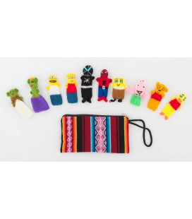 "Set of 10 ""Super Hero"" finger puppets with case"