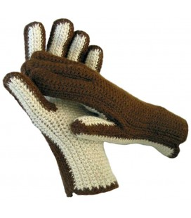 Crochet two-colored Gloves - Pure Alpaca Wool