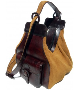 Convertible backpack - Genuine leather and suede
