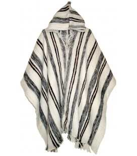 """Huayna"" Stripped Poncho with hood - Pure Wool"