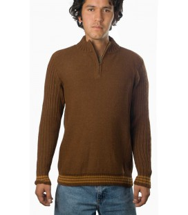 Ribbed pullover with zipper - 100% Alpaca wool