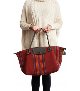 Large foldable bag in llama leather and Andean textile