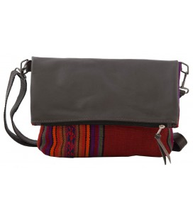 Leather Shoulder Bag with Andean textile