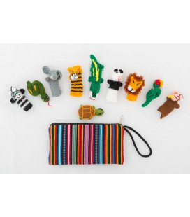 """Set of 10 """" Jungle"""" finger puppets with case"""