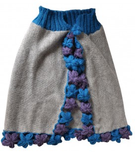 Girl's Cape with flowers - 100% alpaca wool