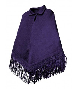 Poncho with rayon Silk Fringes - Alpaca Wool