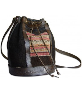 Sling bag - leather and native Aguayo weave
